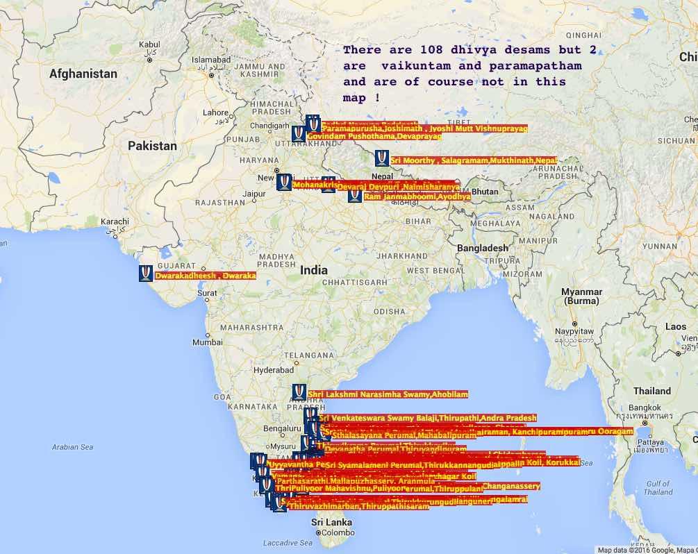 dhivya desam maps